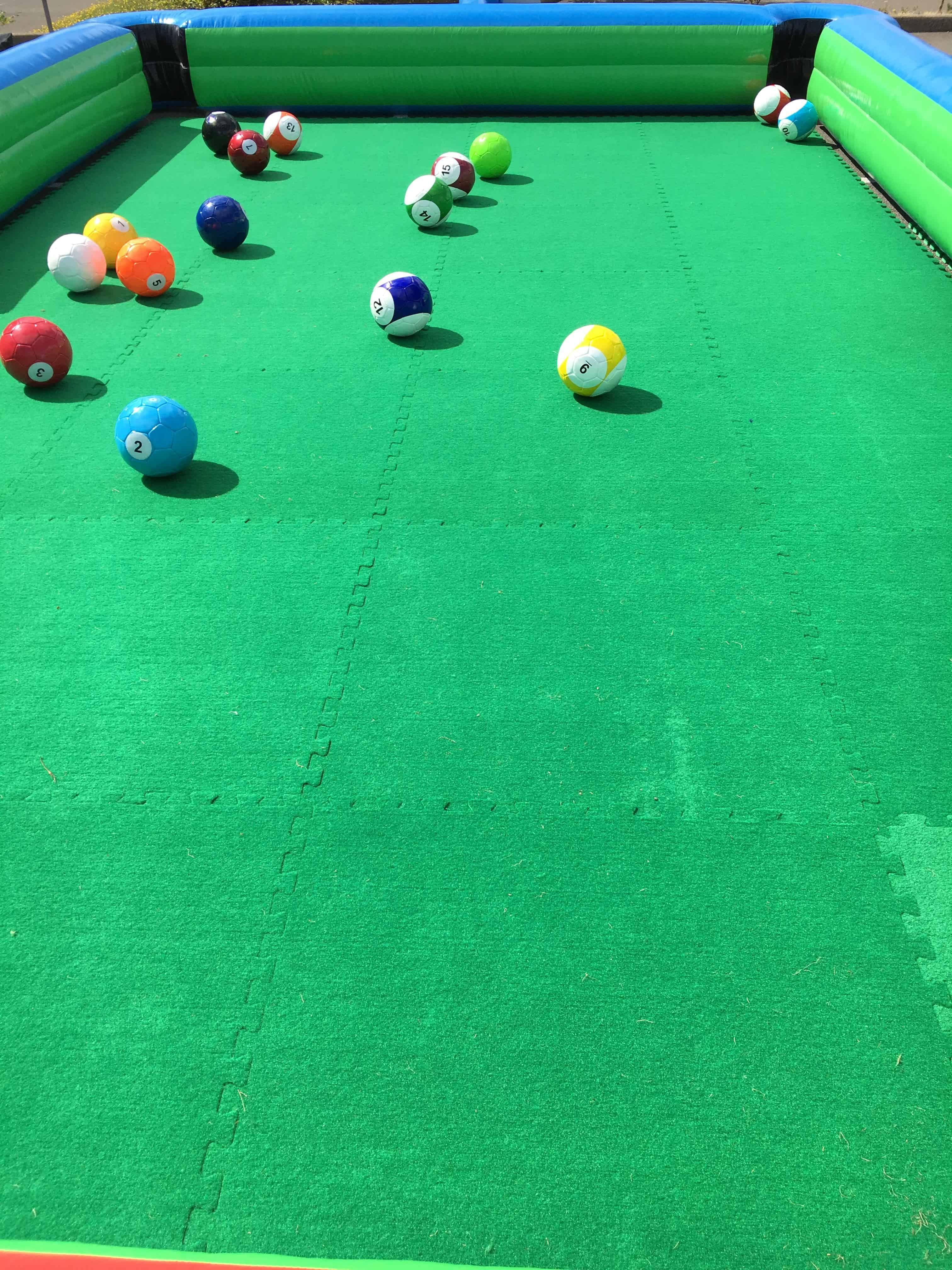 How Long Is A Football Pitch >> Foot Pool - Inflatable Football Sized Pool Table Game Hire