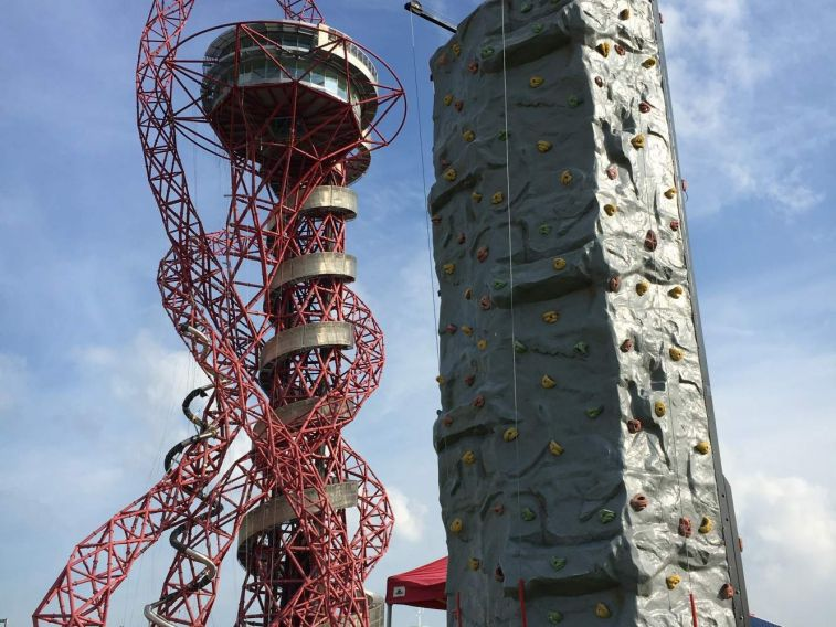 Thumbnail of a mobile rock climbing wall next to The Orbital at The Olympic Park in Stratford, London.