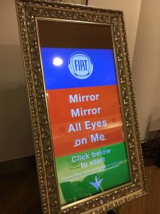 Fiat has branded the front screen of the Magic Selfie Mirror to promote their brand.