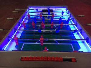 LED football table with multi coloured LEDs displaying the blue function