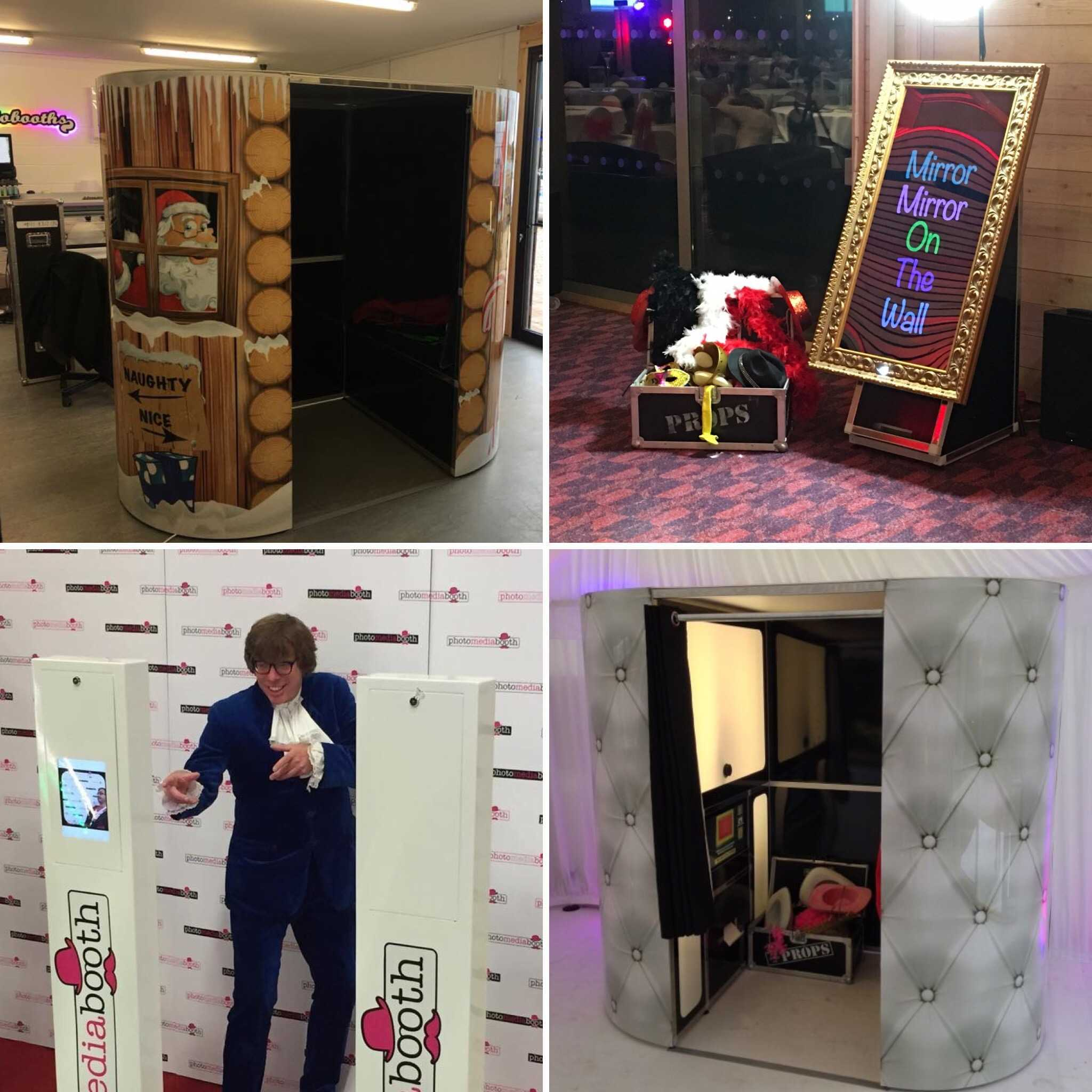 Range of Photo Booth products including Green Screen, Selfie Mirror and Social Media Booth.