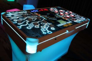 The Two Player Neuron Race is completed with LED Lights, Table and Branding
