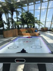 Pink and Purple LED Air Hockey Table in Sky Gardens, London